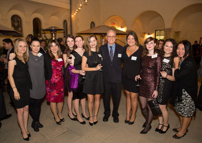 Members of Prof. Eisenberg's group pose for a photo at the event (left to right): Dr. Nicole Wheatley, Dr. Alice Soragni, Dr. Lorena Saelices, Jeannette Bowler, Dr. Rebecca Nelson, Pascal Krotee, Prof. David Eisenberg, Elizabeth Guenther, Sarah Griner, Shannon Essewein, and assistant Cindy Chau.