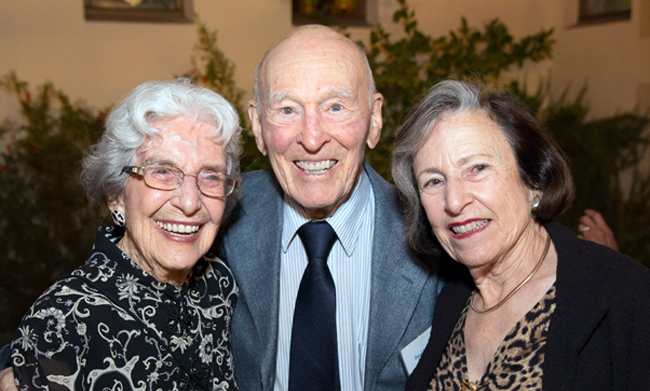 Left to right: Lyda Boyer, Professor Paul Boyer, and Lucy Eisenberg.