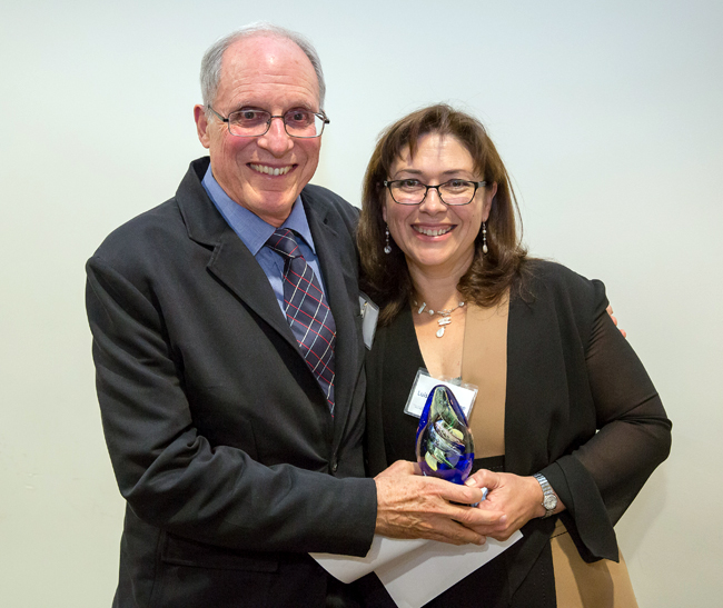 Professor David Eisenberg was presented the Legacy Award by MBI Director Professor Luisa Iruela-Arispe.